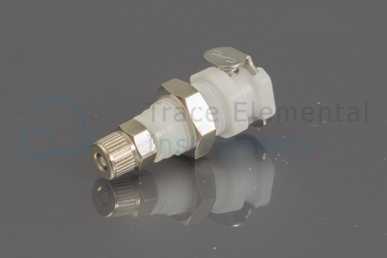 <p>Quick connector female bulkhead, white (argon), NC valve</p>