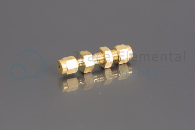 <p>Bulkhead union, brass, 1/8  OD x 4mm OD</p>