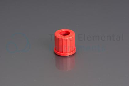 <p>Screwcap, PBT, red, for GL-14 neck,  9.5 mm orifice</p>