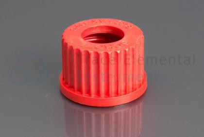 <p>Screw cap, PBT, red, GL32 with 20 mm ID orifice</p>