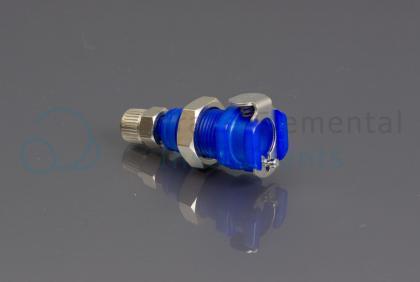 <p>Quick connector female bulkhead, blue (oxygen), NC valve</p>