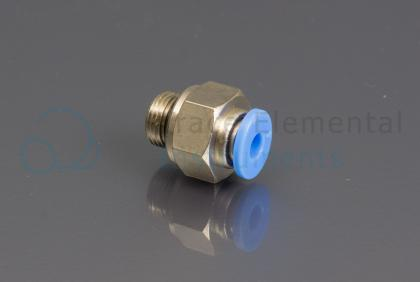 <p>Push-in fitting, red, male G 1/8  x 4 mm OD</p>