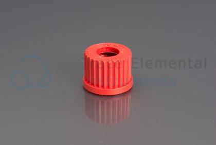 <p>Screw cap, PBT, red, GL25 with 15mm OD orifice</p>